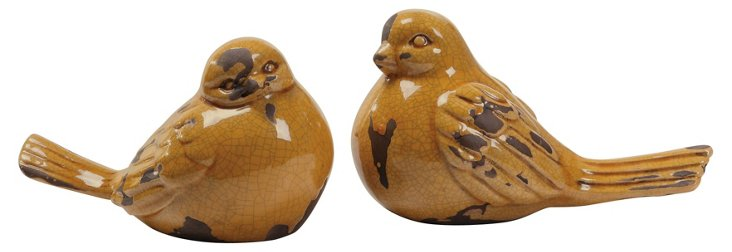 Asst. of 2 Stoneware Birds, Brown