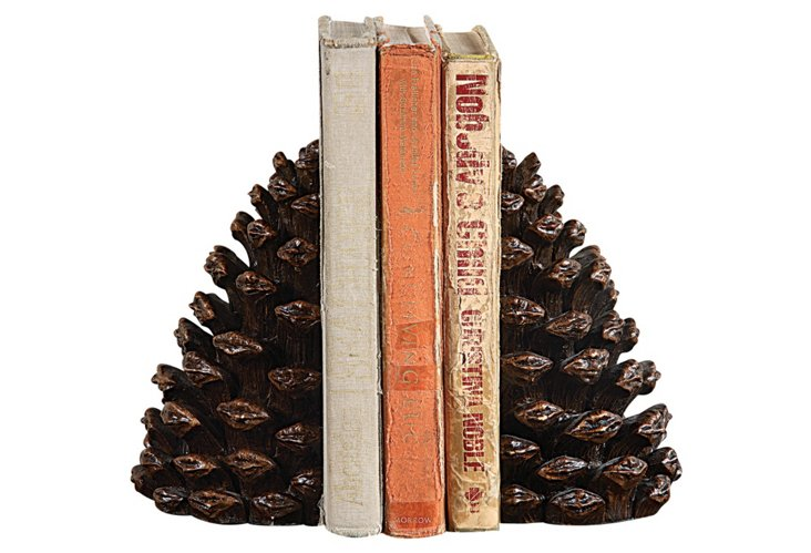 S/2 Pinecone Bookends
