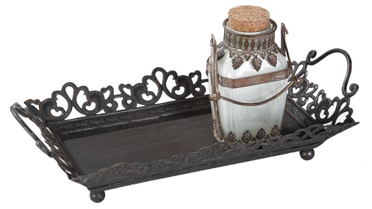 Metal Tray w/ Rust Handles, Black