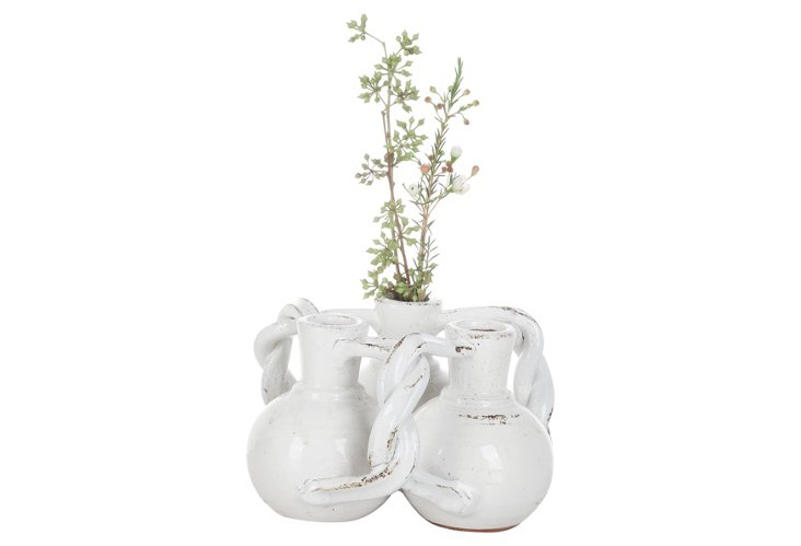 "8"" Intertwined Vases, White"