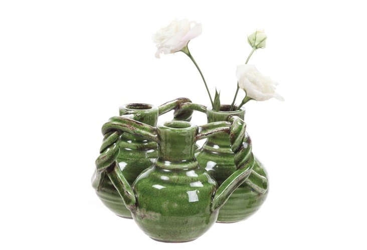 Intertwined Terracotta Vases, Green