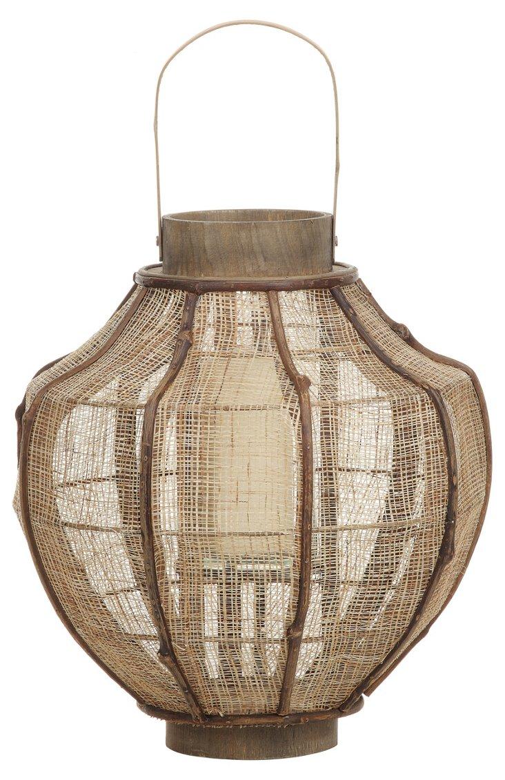 """20"""" Bamboo Lantern, Brown"""