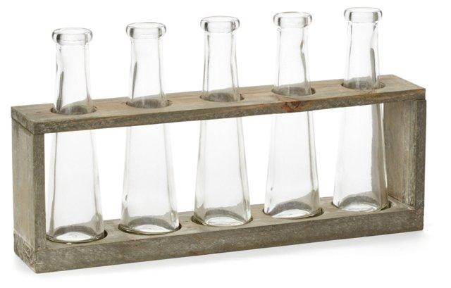 "13"" Vase Holder w/ 5 Glasses, Brown"