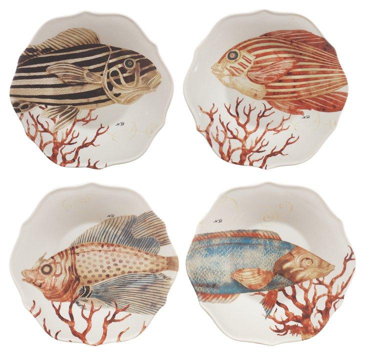 S/4 Assorted Stoneware Fish Plates
