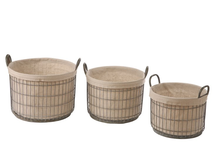 S/3 Tin Baskets w/ Fabric Liner