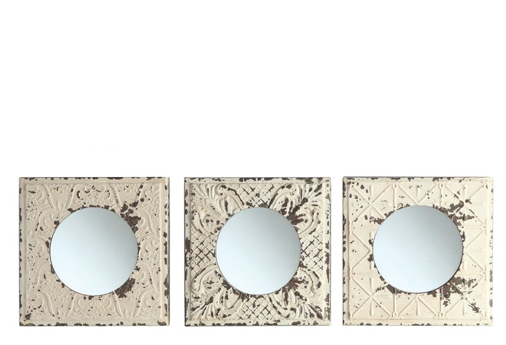 S/3 Asst. Embossed Metal Mirrors
