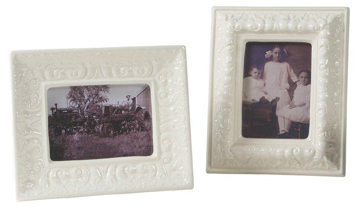Asst. of 2 Scroll 5x7 Frames, Cream