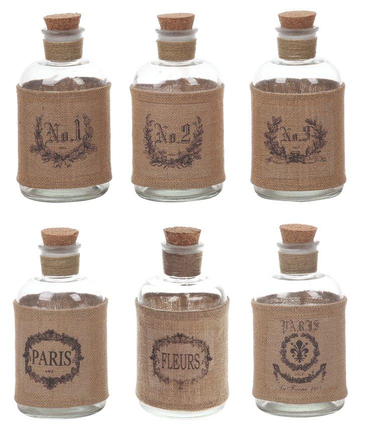 Asst. of 6 Bottles w/ Burlap Wraps