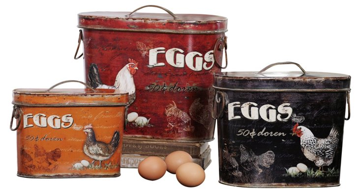 """12"""" Tin Rooster Canisters, Asst. of 3"""