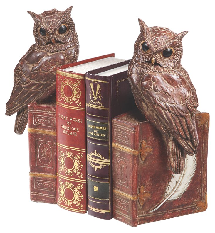"Pair of 12"" Owl Bookends"
