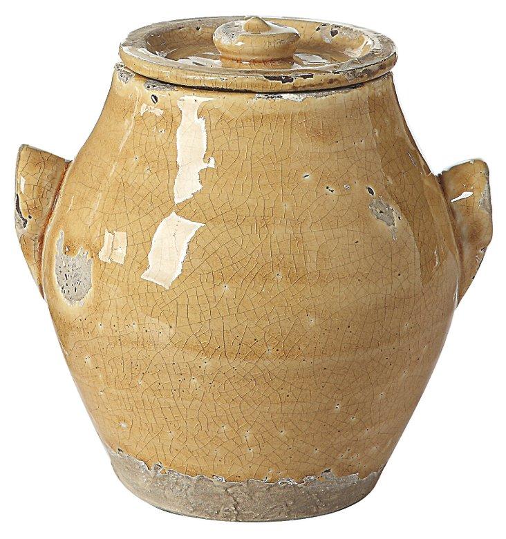 """7"""" Terracotta Pot w/ Lid, Mustard"""