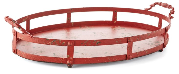 "21"" Distressed Oval Tray w/ Handles, Red"