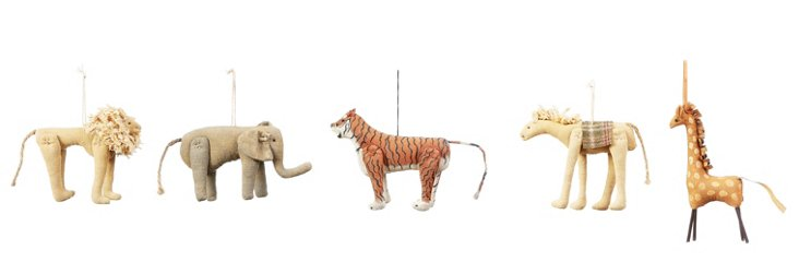 Circus Animal Ornaments, Asst. of 5