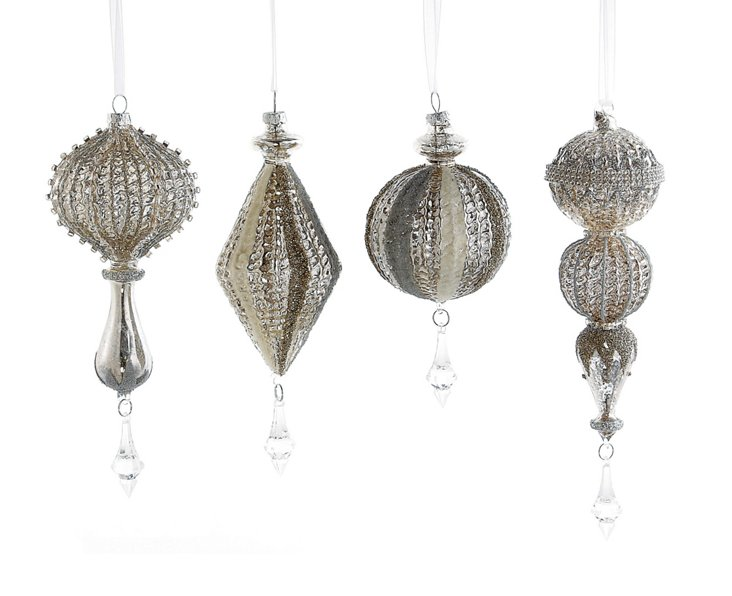 S/4 Glass Ornaments w/ Crystals