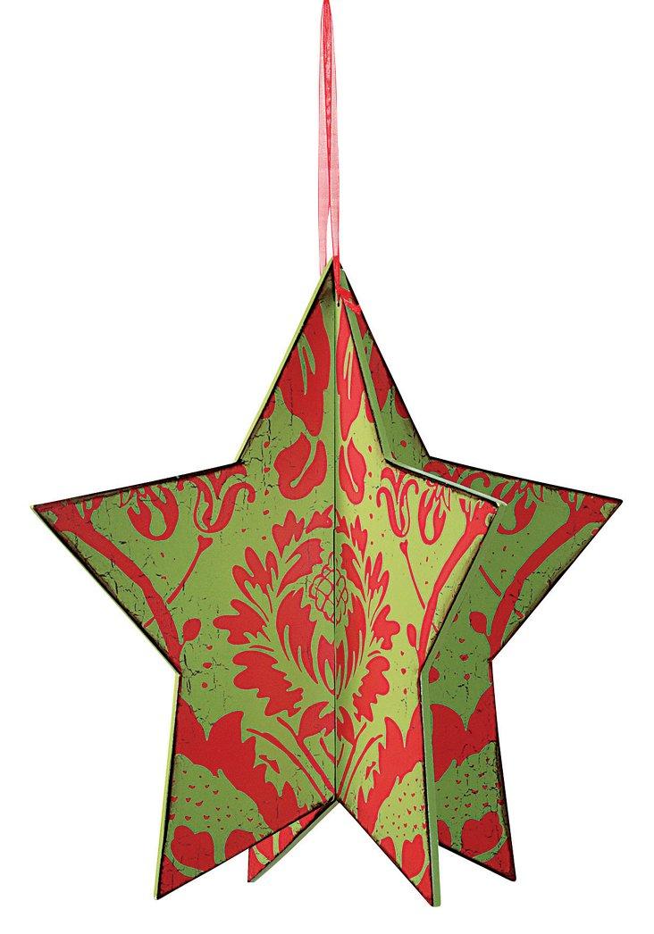 Wood Damask Star Ornament