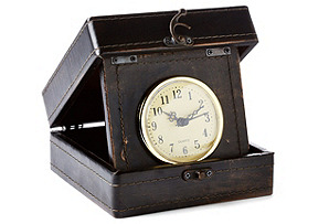 """6"""" Leather-Style Box Clock, Brown*"""