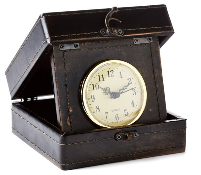 """6"""" Leather-Style Box Clock, Brown"""