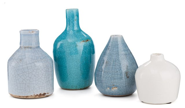 Asst of 4 Terracotta Vases, Blue