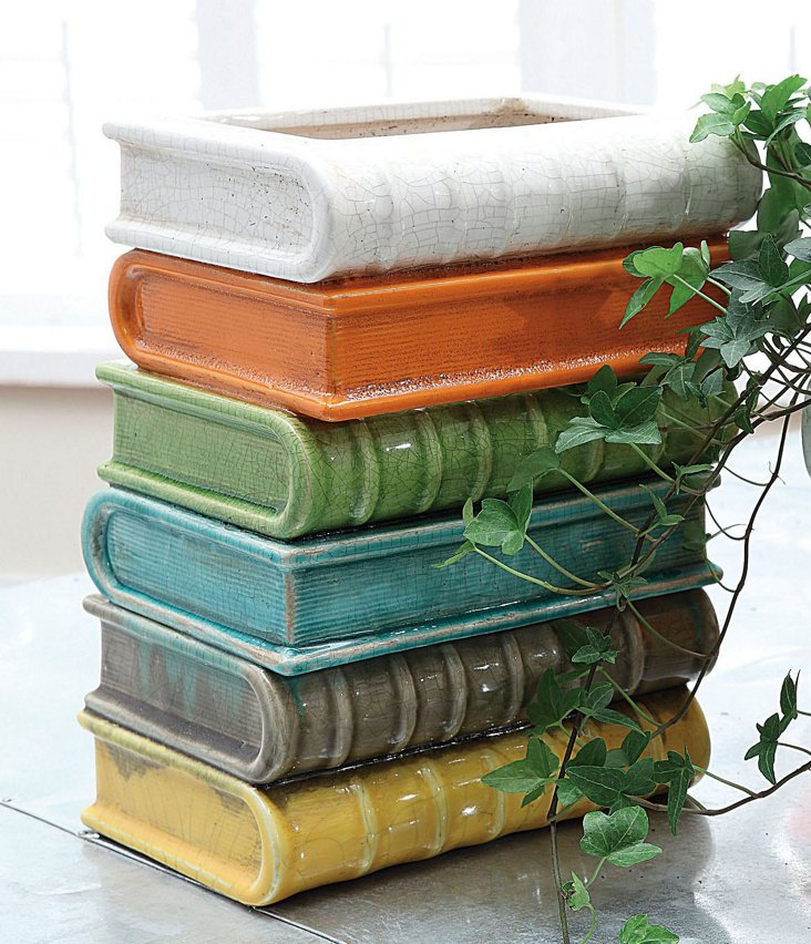 "9"" Terracotta Stacked-Books Vase"