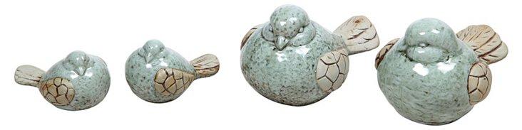 Asst. of 4 Stoneware Birds, Blue