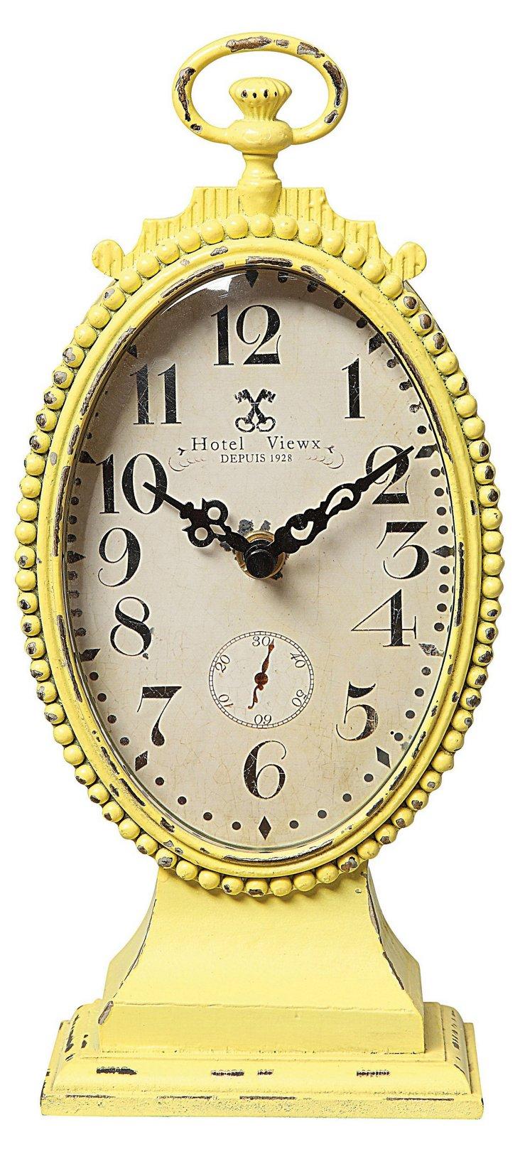 """10"""" Oval Metal Clock, Yellow"""
