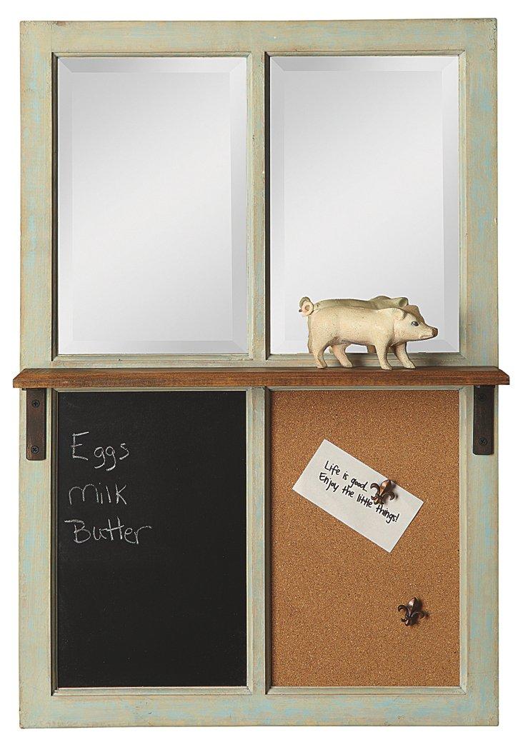 Chalkboard & Cork Mirrored Wall Shelf