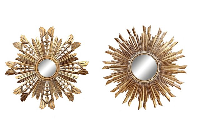 Sunburst Wall Mirror Set, Gold