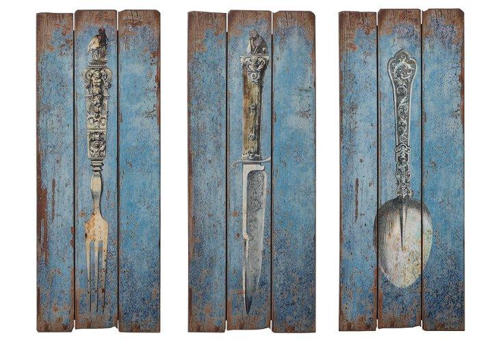 Wood Panel Silverware Plaque Set