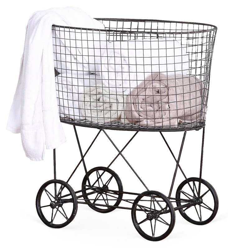 Wire Laundry Basket w/ Wheels