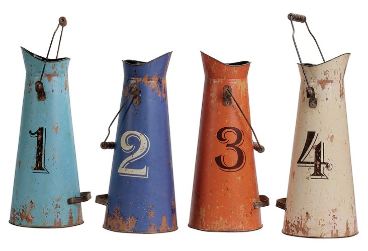 S/4 Numbered Tin Buckets