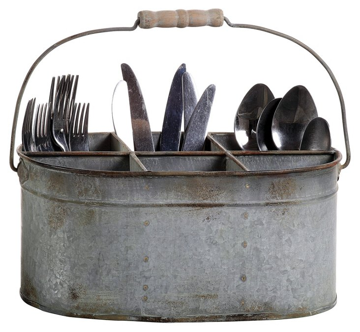 6-Compartment Tin Caddy