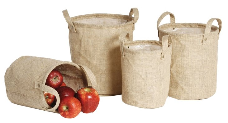 Asst. of 4 Burlap Lined Bags