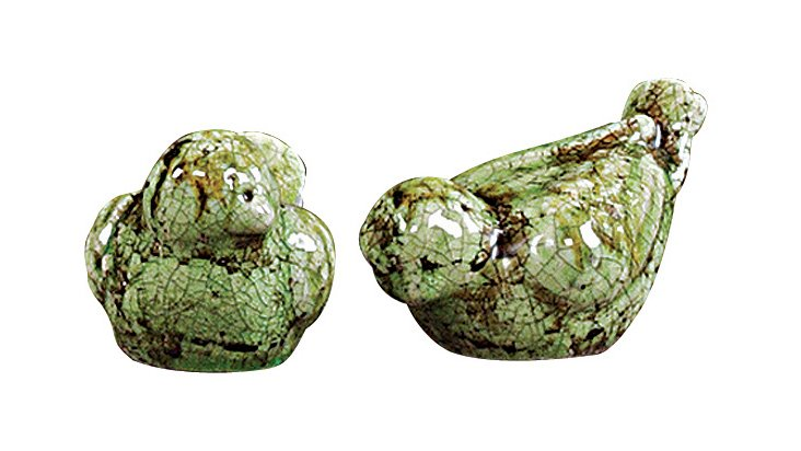 Green Stoneware Birds, Asst. of 2