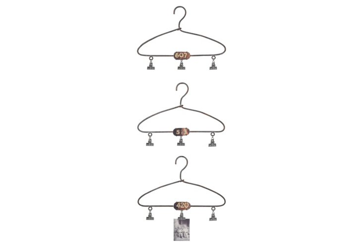 Metal Hangers w/ Clips, Asst. of 3