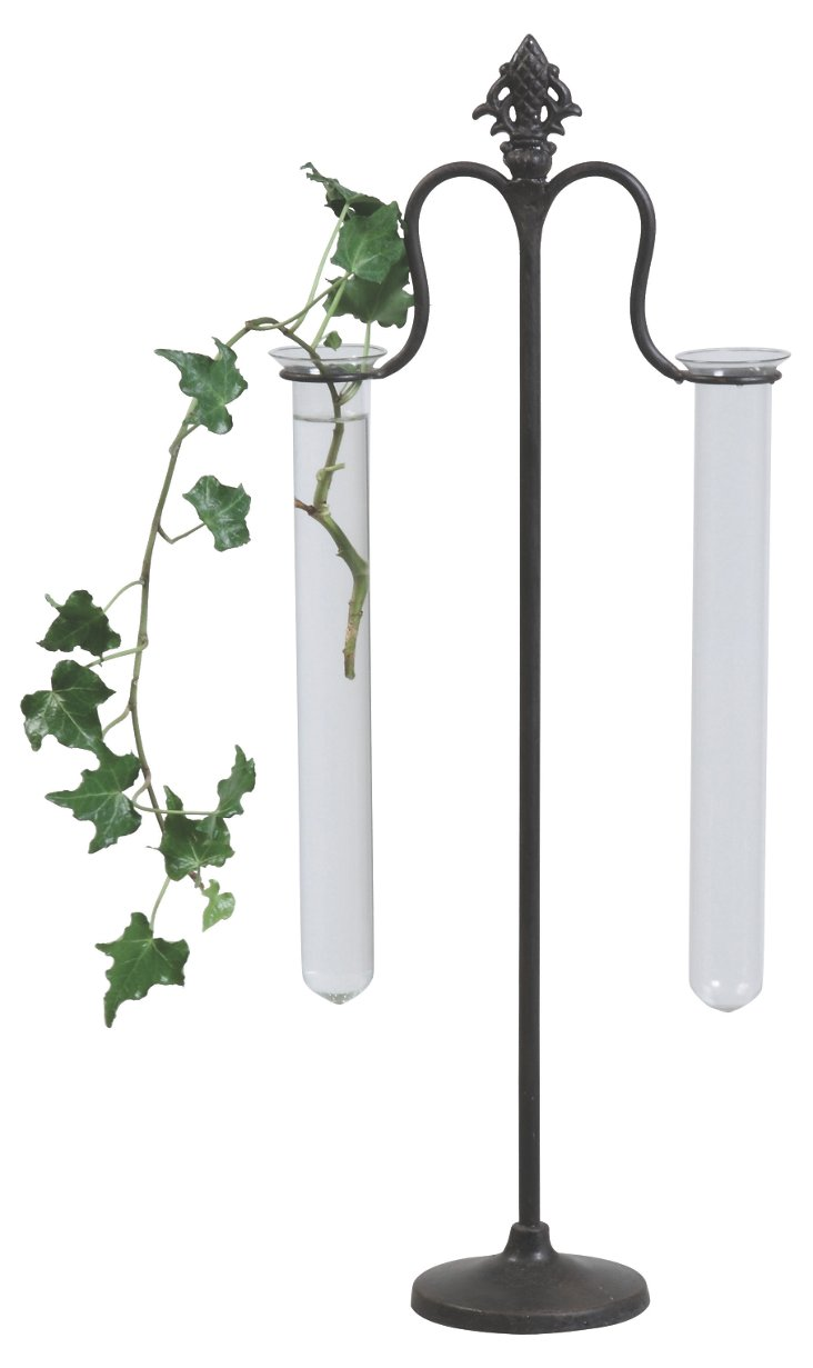 Metal Stand w/ 2 Test Tube Vases