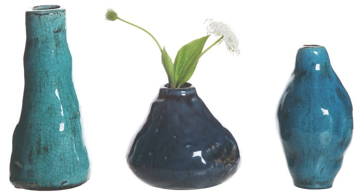 Blue Terracotta Vases, Asst. of 3
