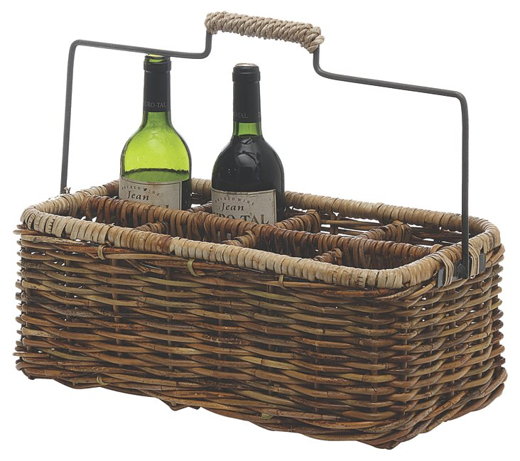 Rattan 8-Bottle Basket