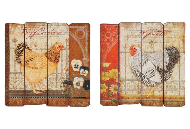 Farmhouse Rooster Plaques, Set