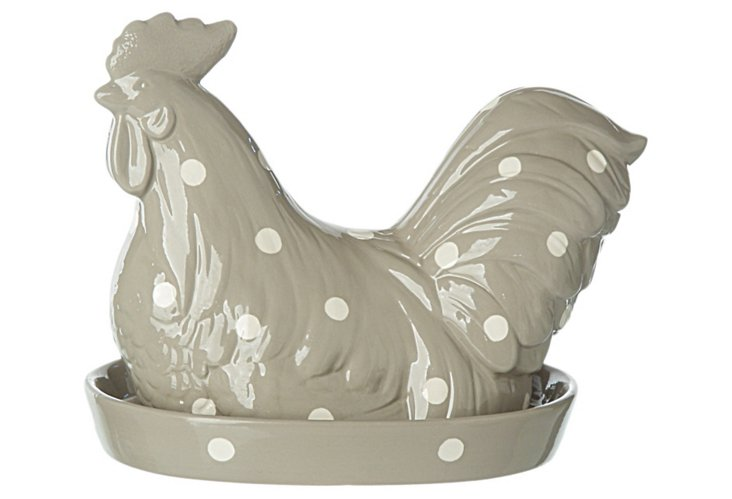 Polka Dot Rooster Covered Dish