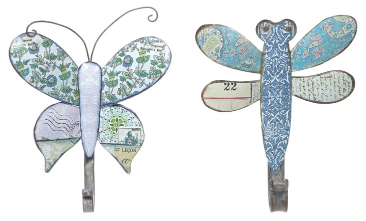Dragonfly & Butterfly Hooks, Set of 2