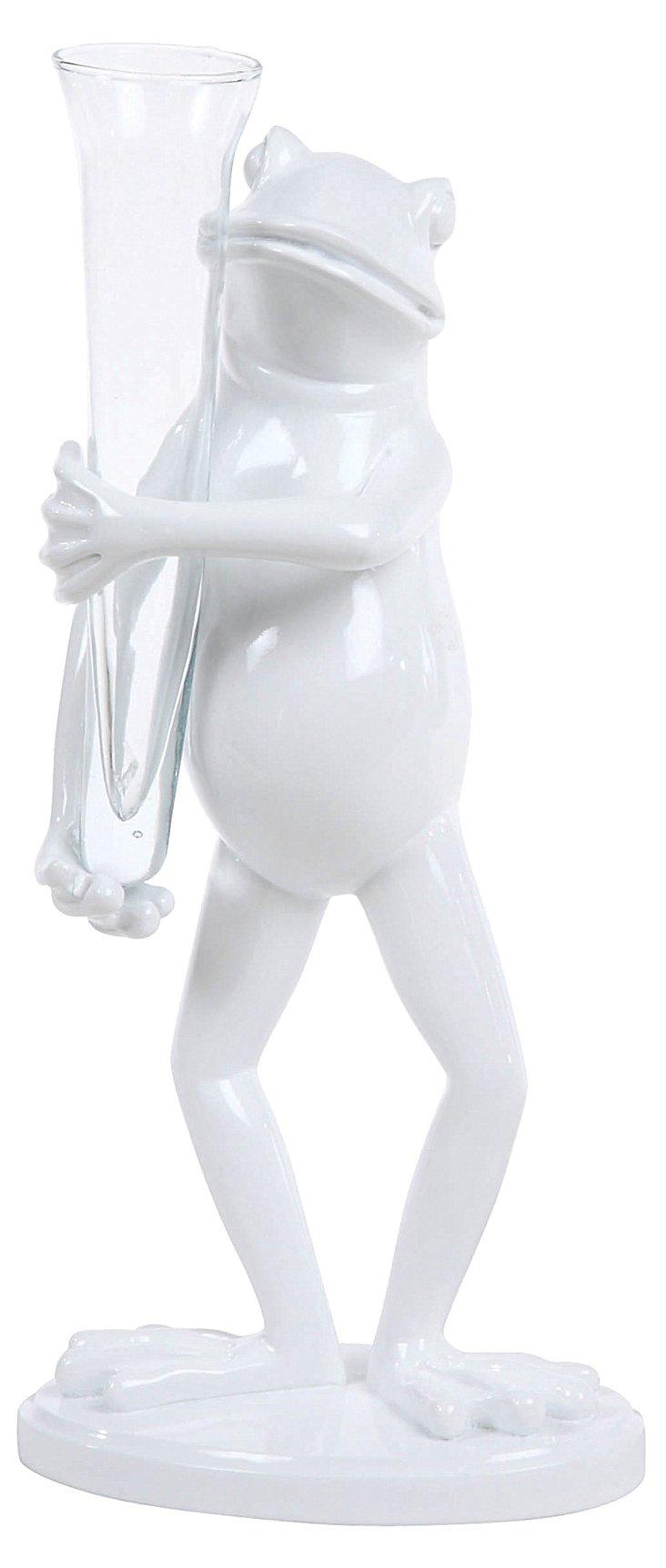 Frog w/ Glass Vase