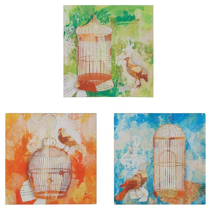 Birdcage Canvas Plaques, Set of 3