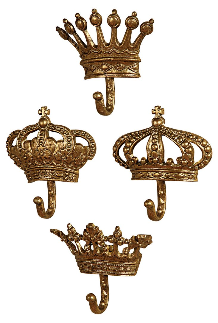 Metal Crown Hook Set, Gold