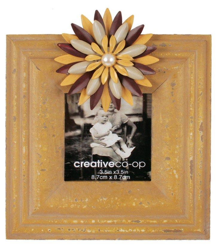 Wood Frame w/ Flower, 3x3, Cream