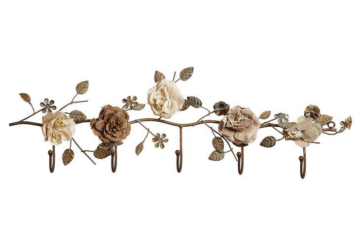 Metal Wall Hooks w/ Flowers