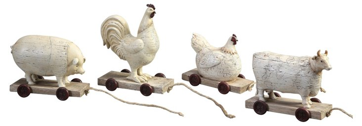 Asst. of 4 Farm Animals on Wheels
