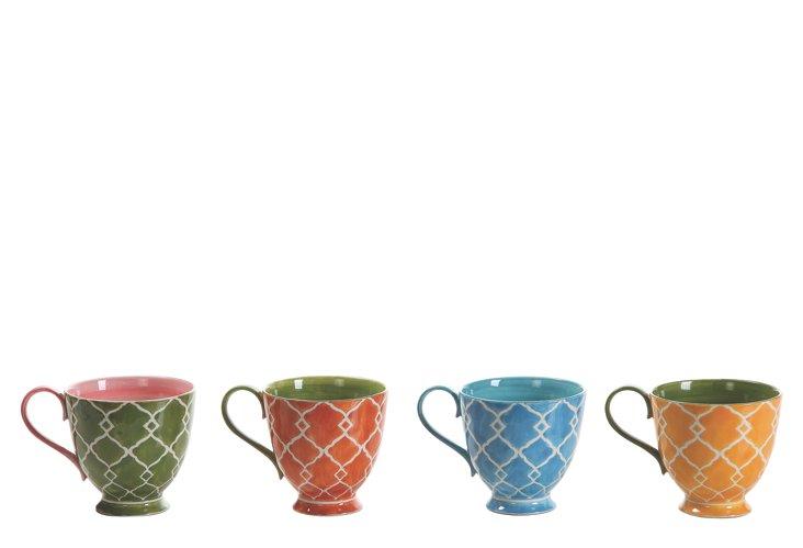 S/4 Hand-Painted Stoneware Mugs