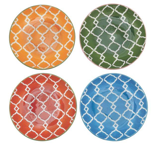 S/4 Round Stoneware Salad Plates