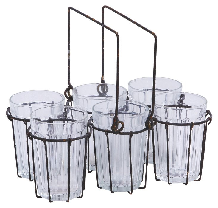 Wire Rack w/ 6 Glasses