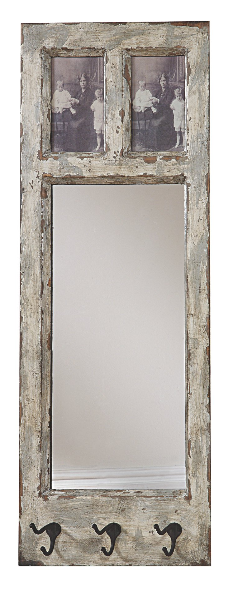 Rustic Mirror and Hook Wall Mount